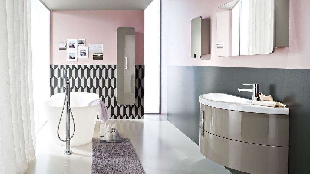 Moon: bathroom cabinets with curved ceramic wash basin ideagroup
