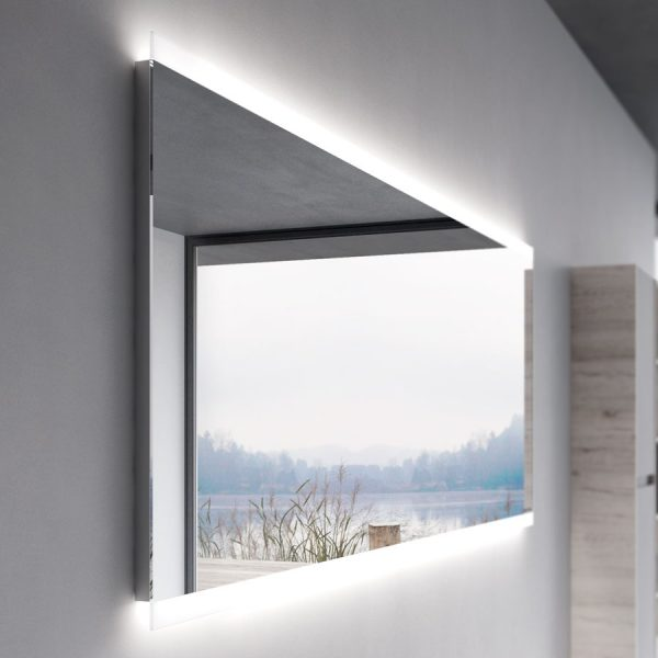 Framed mirror with integrated LED lighting