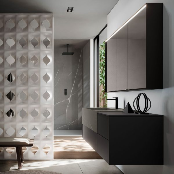 Mirrored cabinet in aluminium with  built-in light